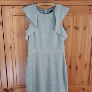 J. Crew Tall grey ruffled sleeve work dress